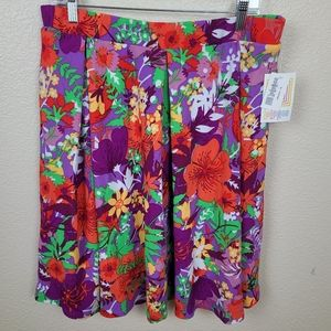 LuLaRoe Purple Red Hibiscus Floral Madison XL